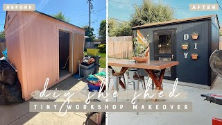 DIY Tiny She Shed Workshop Makeover + Life Update