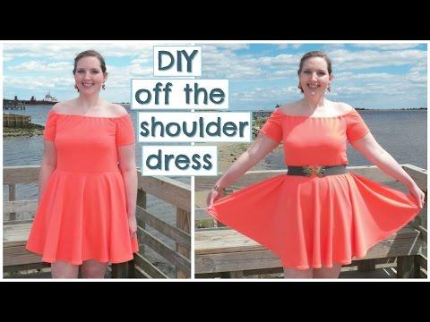 DIY Off The Shoulder Skater Dress (Stretch Fabric + Circle Skirt)  ba4ae5091