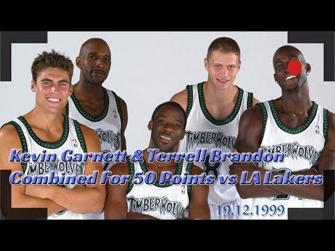 Kevin Garnett & Terrell Brandon Combined For 50 Points vs LA Lakers (19.12.1999)