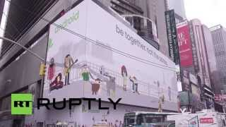 usa google tests interactive games on usas largest digital billboard