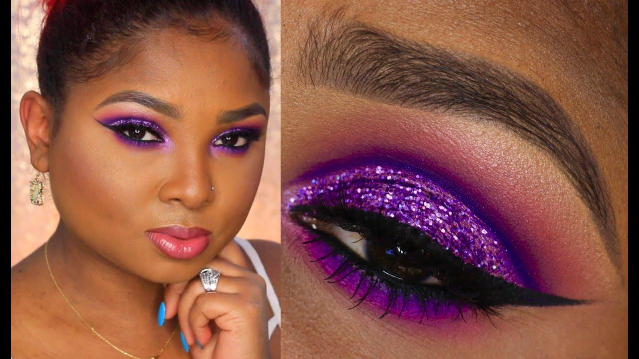 purple cut crease prom make up full face tutorial