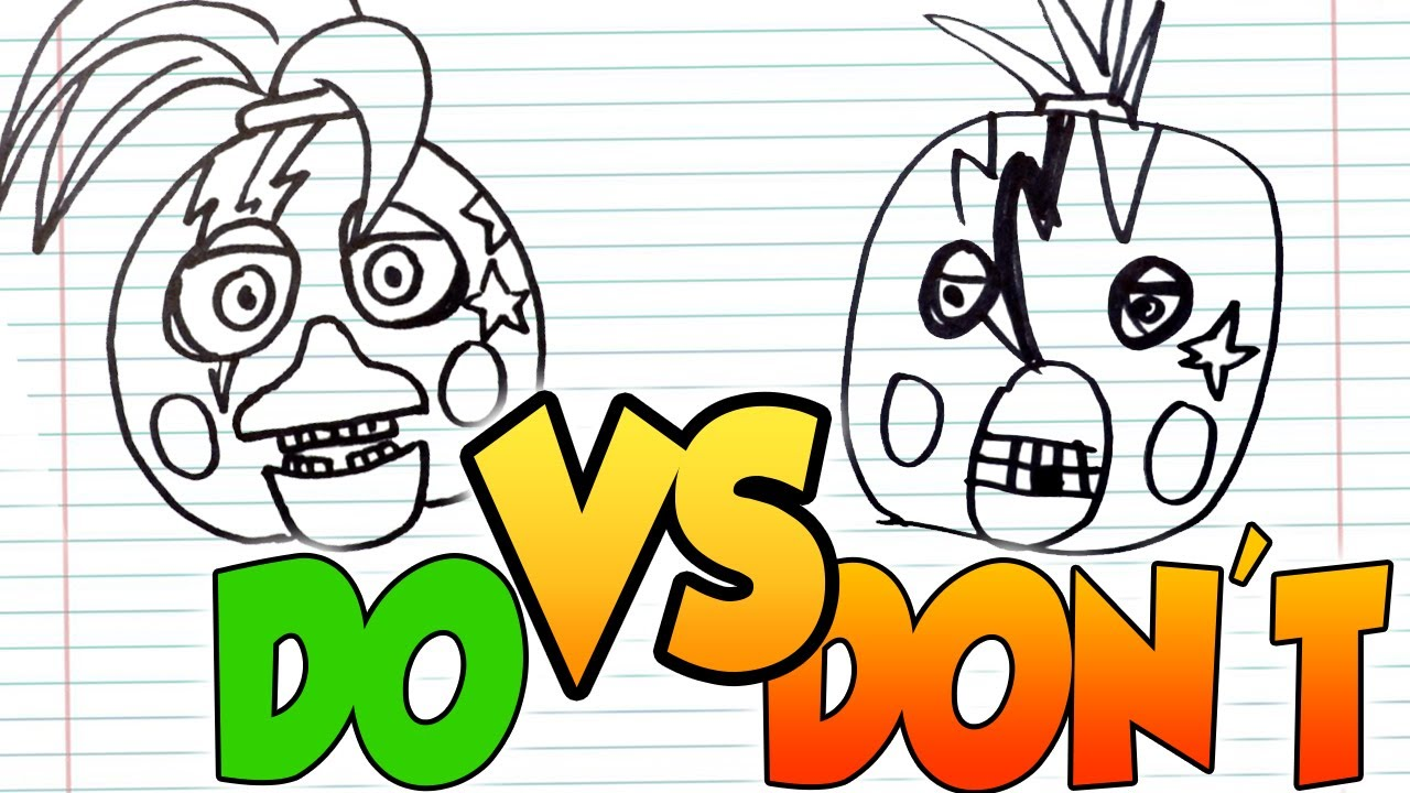 DOs & DON'Ts Drawing FNAF - Security Breach Glamrock Chica Animatronic In 1 Minute CHALLENGE!
