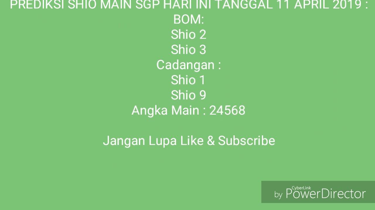 Prediksi Shio Main Sgp Hari Ini Tanggal 11 April 2019