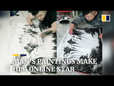 Chinese man with no hands becomes online painting sensation