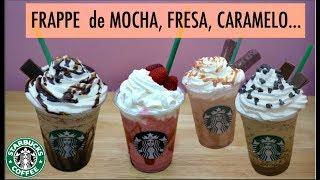 4 FRAPPUCCINOS Starbucks (de mocha, fresa, caramelo, java chip)