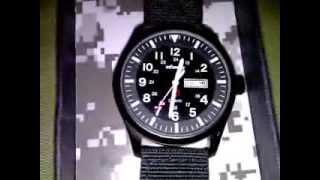 infantry 24h luminous sport date day military army mens black quartz wrist watch