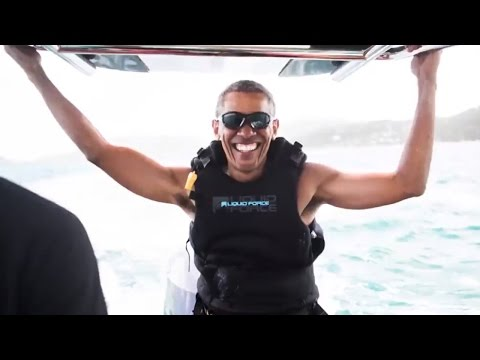 Barack Obama Catches Waves While Kitesurfing With Richard Branson In Caribbean