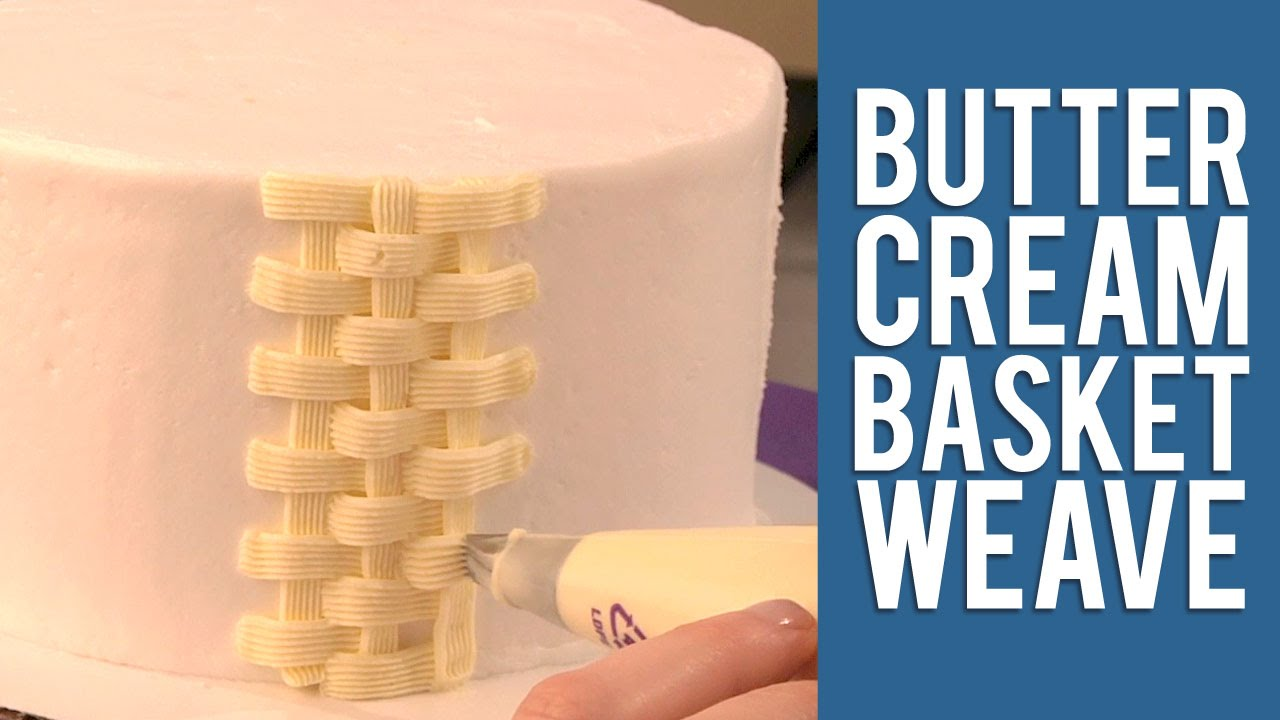 How to Make a Buttercream Basketweave Cake Design - YouTube