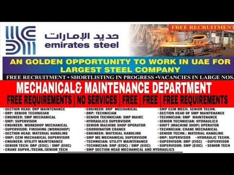 Vacancies in Emirates steel Dubai   white collars job in