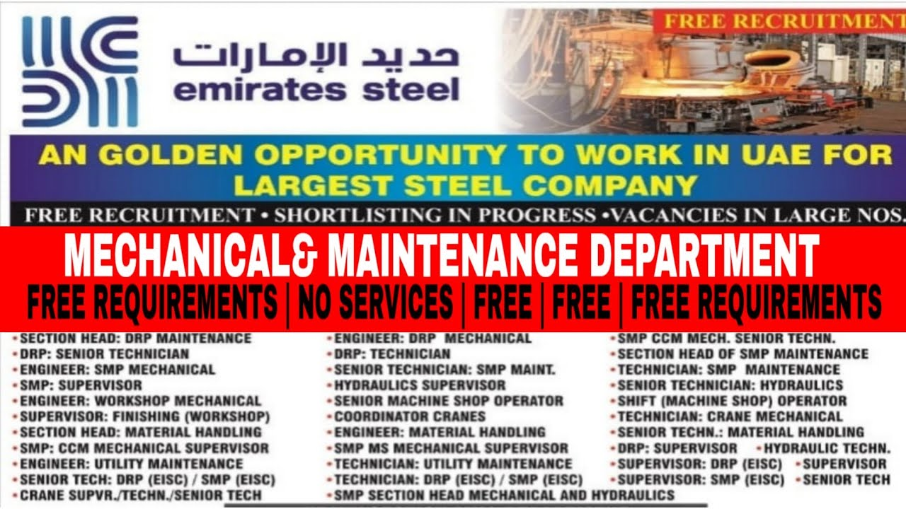 Vacancies in Emirates steel Dubai   white collars job in Dubai  engineer  job in Dubai Emirates steel