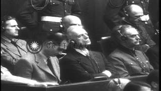 Nazi leader Ribbentrop tried for war crimes during Nuremberg trial in Germany HD Stock Footage