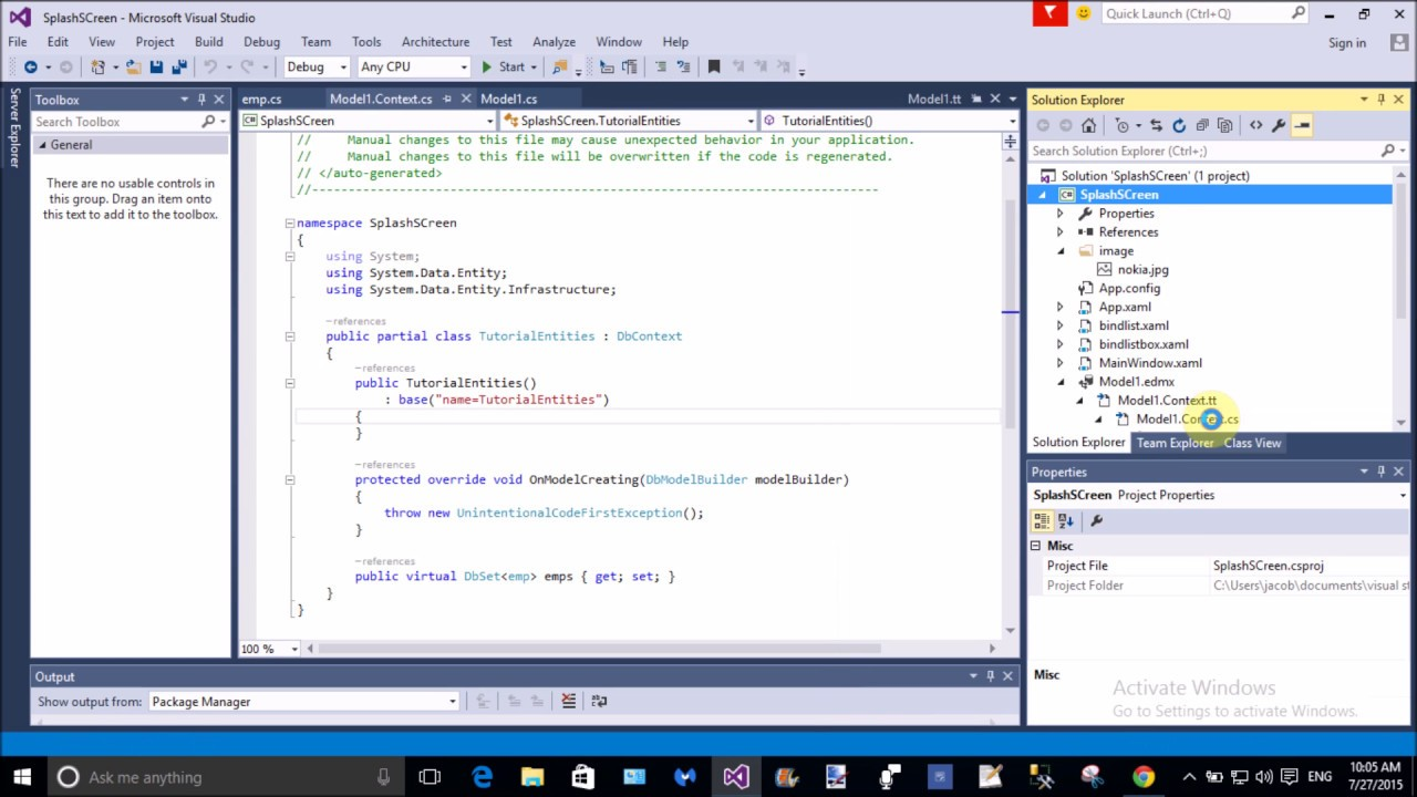 Bind DataGrid using Entity framework edmx model in WPF part-1