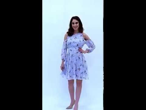 Video: Szyfonowa sukienka z rozkloszowanym dołem