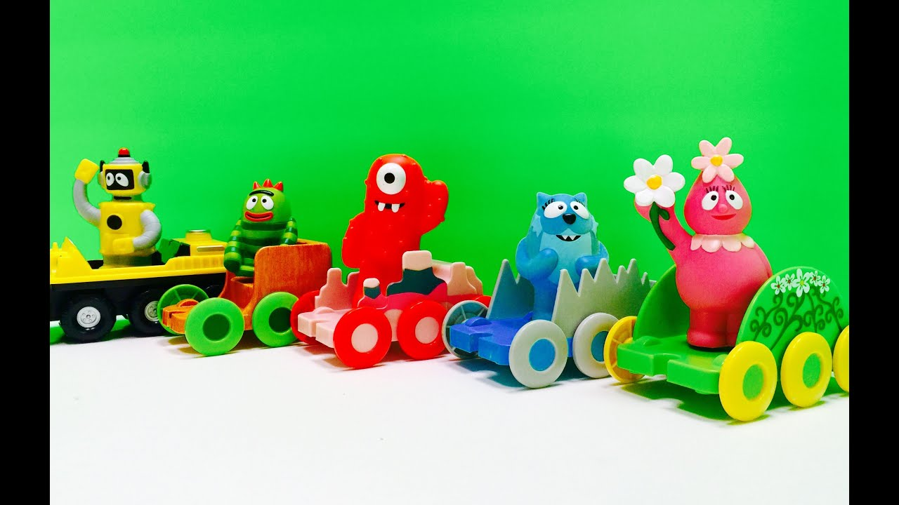 yo gabba gabba complete train opening car toy set youtube
