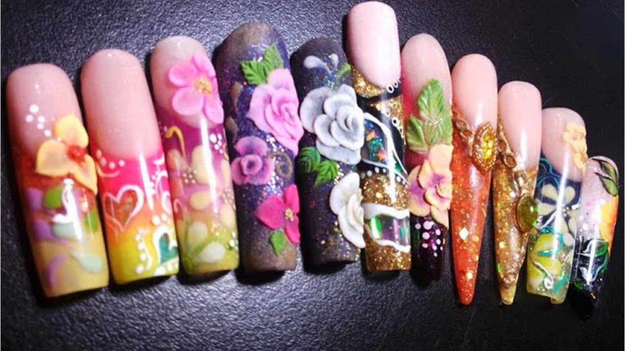 Tendencias de moda Uñas decoradas animal print flor 3d difuminado ...