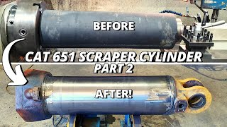 Repair DAMAGED Hydraulic Cylinder for CAT 651 Scraper | Part 2