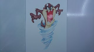 """Time Lapse Drawing: """"Taz""""  the Tasmanian Devil from"""