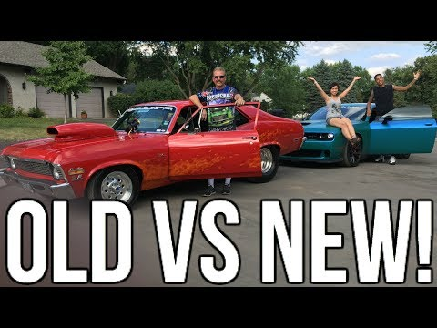 Old School Muscle vs New School Muscle !! Chevy Nova vs Hellcat !!