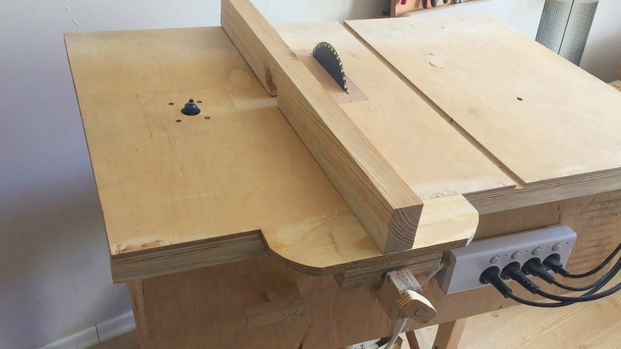 Building 4 in 1 workshop homemade table saw router table for 10 sanding disc for table saw