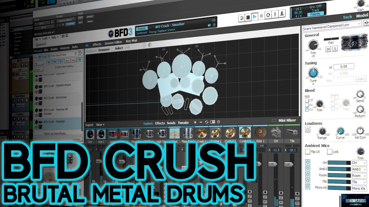 BFD CRUSH | BRUTAL METAL DRUMS FOR BFD3 [FULL DEMO]