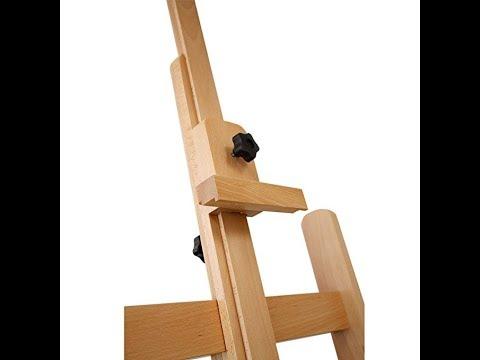 US Art Supply Malibu Extra Large H-Frame Deluxe Adjustable Wood Studio  Easel with Tilt and Caster