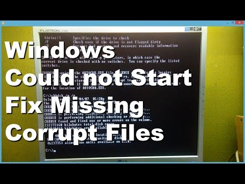 Windows Could Not Start Boot Up Missing Or Corrupt Files Error Message