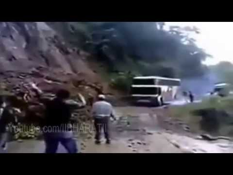 Uttarakhand Flood 2013 - Bus Falling From Hills Live Video Travel Video