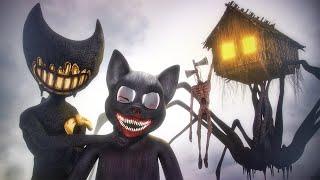 All Creatures on CAMERA   House Head, Cartoon Cat, Bendy & Siren Head
