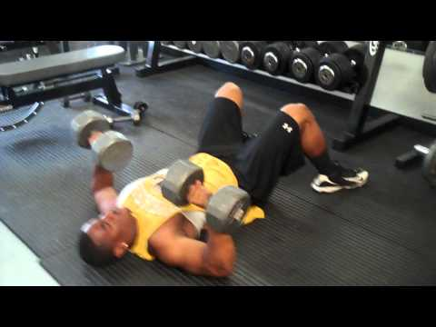 NFL Bound - RB Devon Moore - Performing Floor DB Presses with 70 lbs