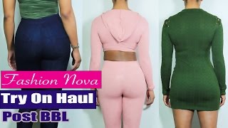 fashion nova try on haul   look of the day   post bbl
