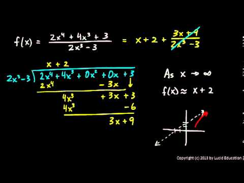 Calculus 2.3c - Rational Functions - Slant Asymptote - YouTube