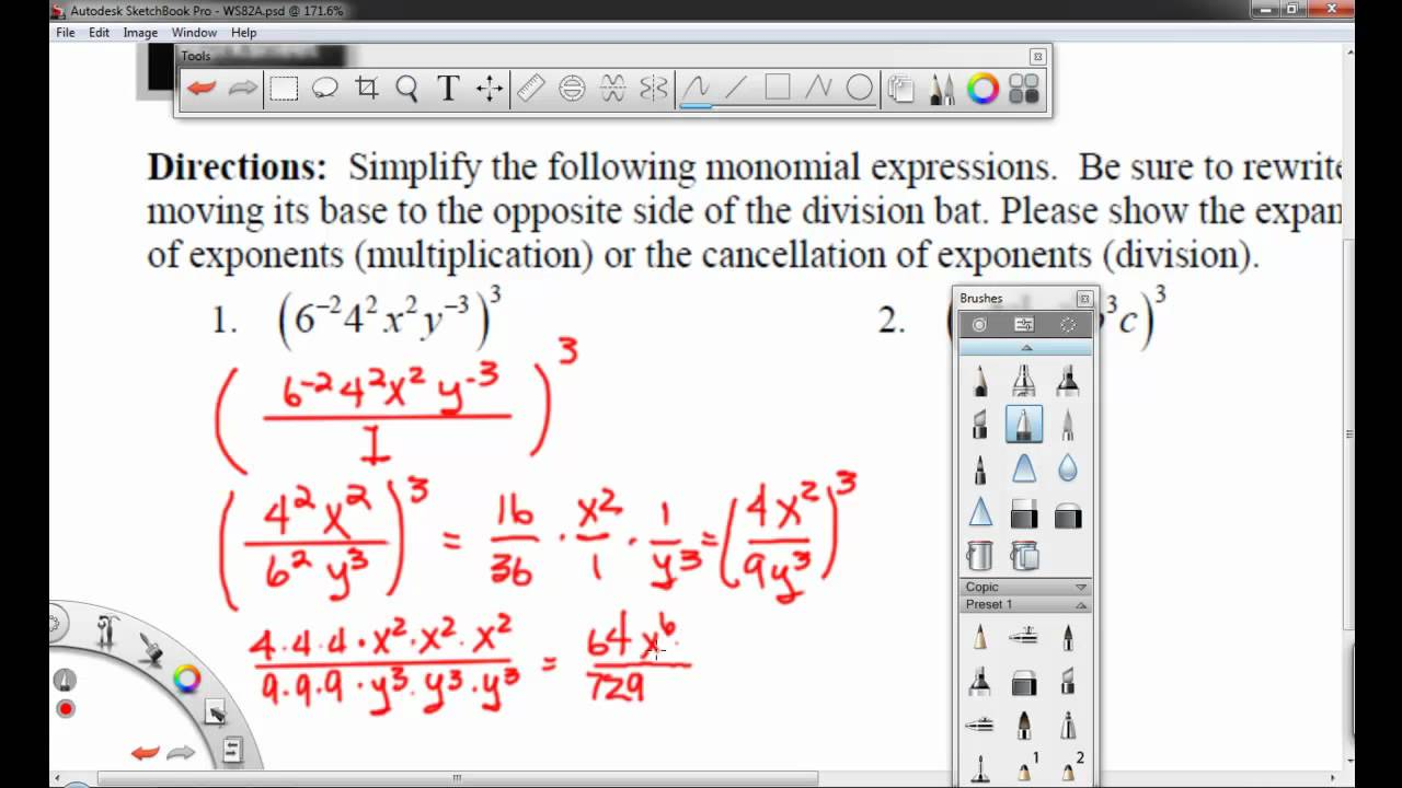 Worksheet 8.2A - Simplifying Monomials with Negative Exponents ...