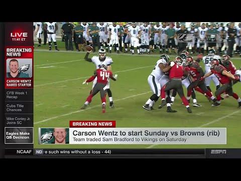 Carson Wentz Will Start Week 1 - Eagles vs Browns