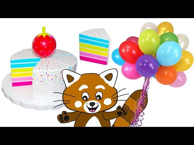 Pukkins bakar en smaskig tårta med leksaksfrukter - Lek och lär