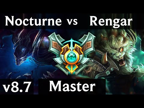 NOCTURNE vs RENGAR (JUNGLE) ~ Godlike, Perfect KDA 7/0/6 ~ EUW Master ~ Patch 8.7