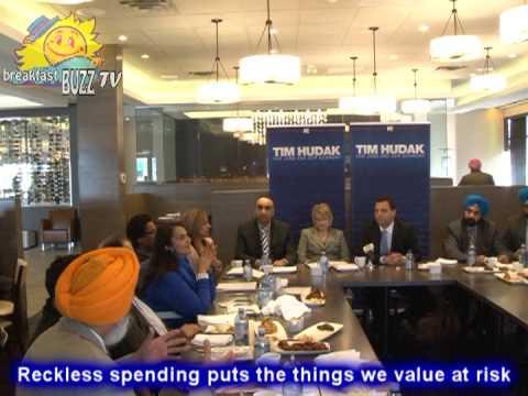 "Breakfast BUZZ @ Tim Hudak's Brampton Media roundtable about Liberal's ""Reckless Spending"""