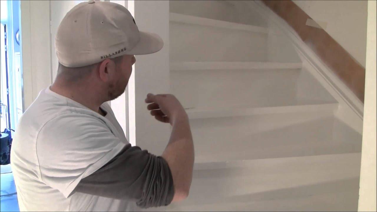 Verf spuiten trap spuiten woning spuiten youtube - Schilderen muur trap ...