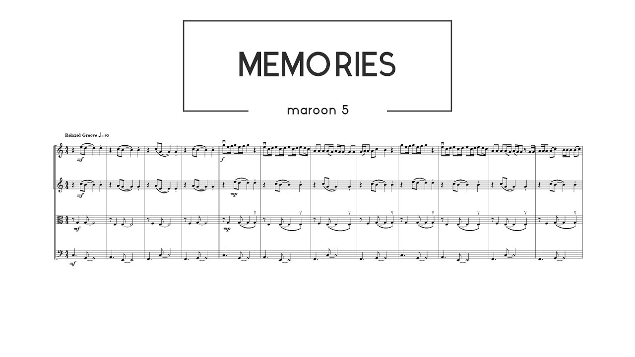 Memories Maroon 5 String Quartet Sheet Music Youtube