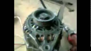 car alternator converted to 3 phase brushless permanent magnet alternator (PMA)