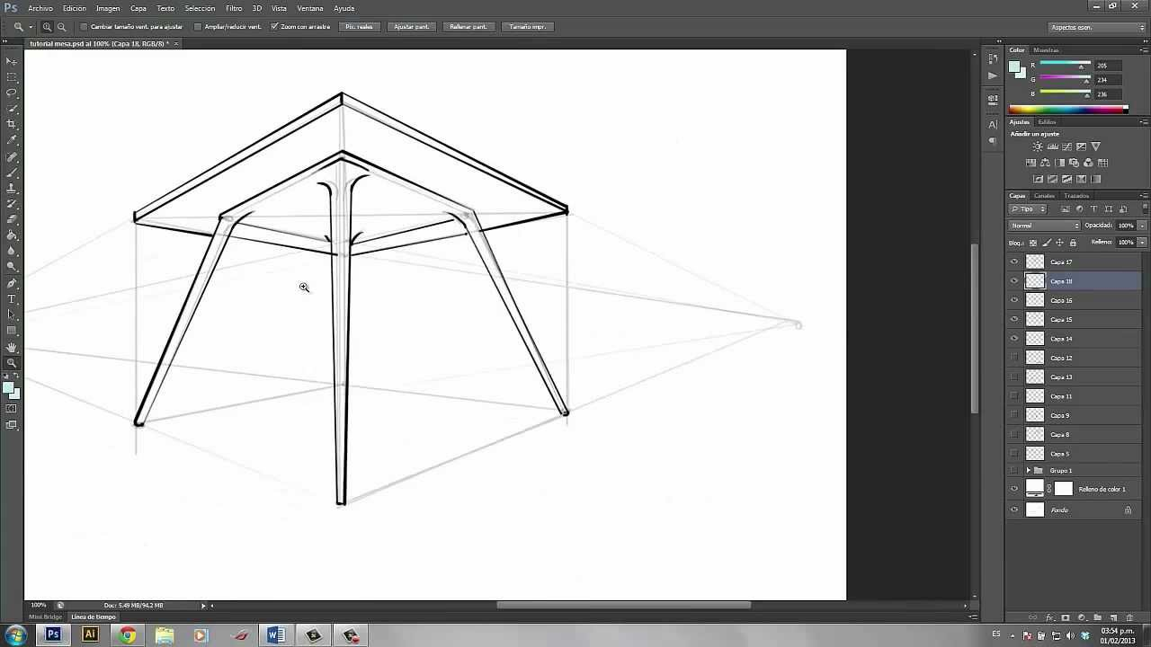 Dibuja una mesa desde una perspectiva interesante youtube for Silla facil de dibujar