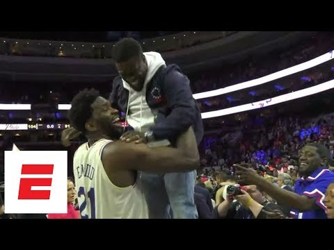 Joel Embiid celebrates with Kevin Hart after 76ers win firstround series over Heat  ESPN