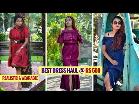 BUY CHEAPEST DRESS UNDER RS 500 | TRY ON HAUL - AFFORDABLE SUMMER CASUAL DRESS LOOKBOOK INDIA