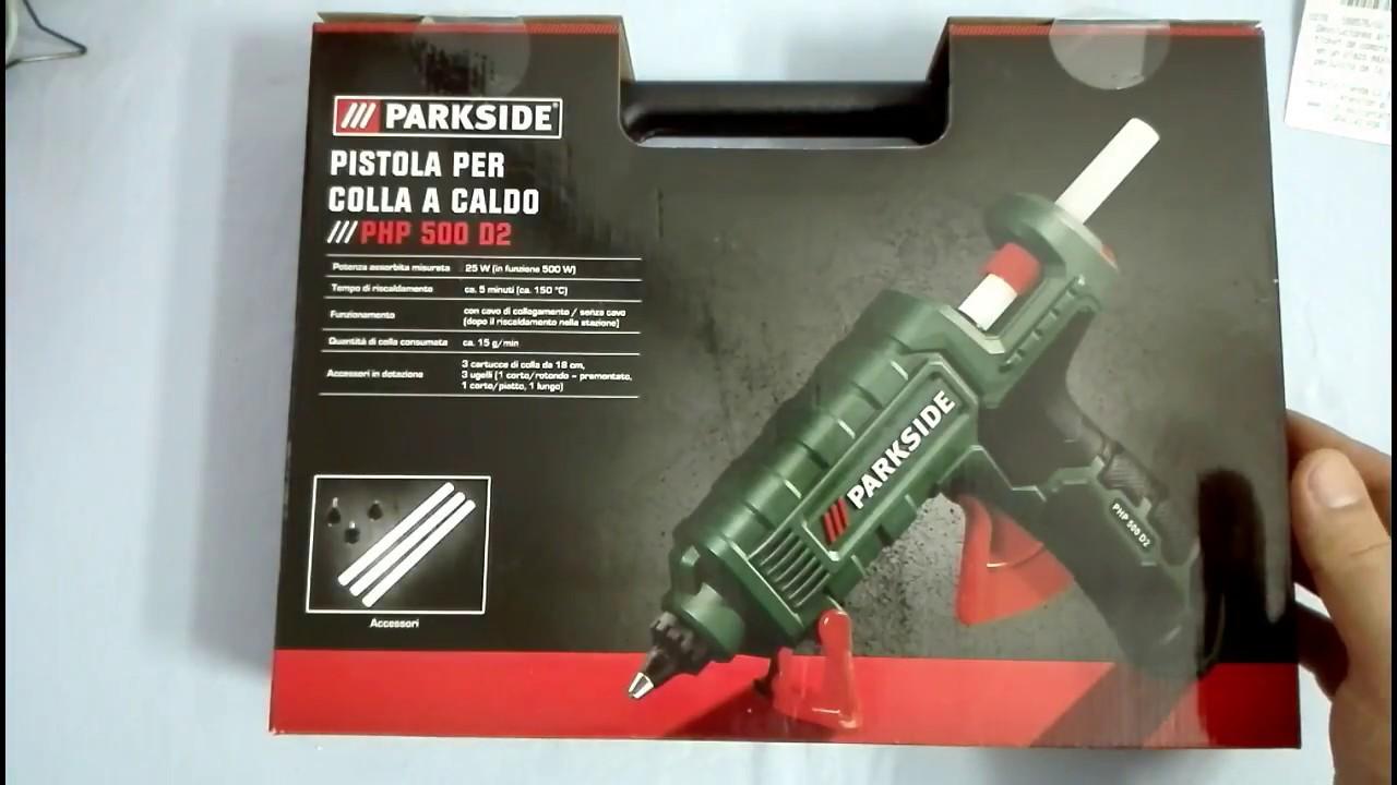 Unboxing pistola parkside per colla a caldo stick php 500 for Pistola sparapunti parkside