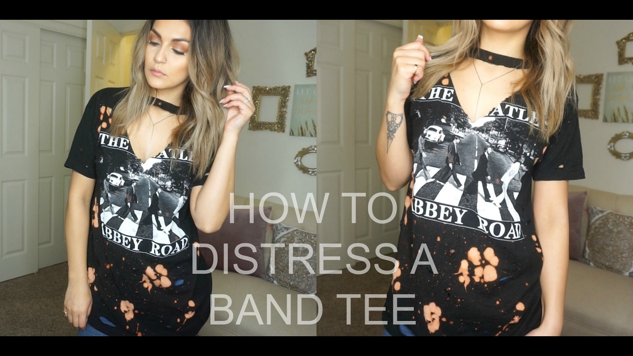 Diy how to distress and bleach t shirts brenda manalac for How to make a distressed shirt