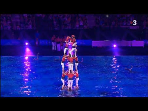 4 de 7 net aquàtic dels Castellers de Barcelona - Inauguració Mundial de Natació de Barceona