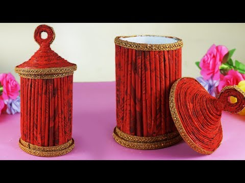 Best out of Waste material craft | Diy Newspaper Jar |Creative Newspaper Recycle Ideas | Paper Reuse