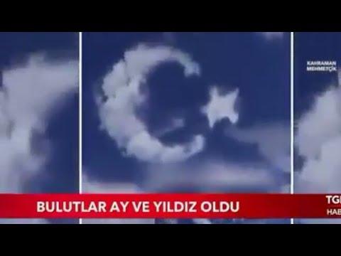 Afrin'de Gökyüzünde Bulutlarda AY YILDIZ Görenleri Şaşırttı
