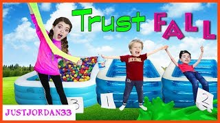 Blindfold Trust Fall - Don't Choose The Wrong Ball Pit (Slime Edition) Challenge! / JustJordan33