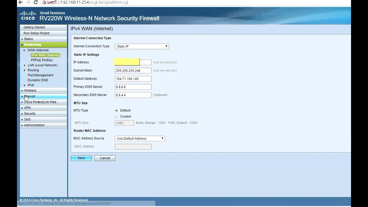 How to enable multiple public IP on Cisco RV220 Router Firewall