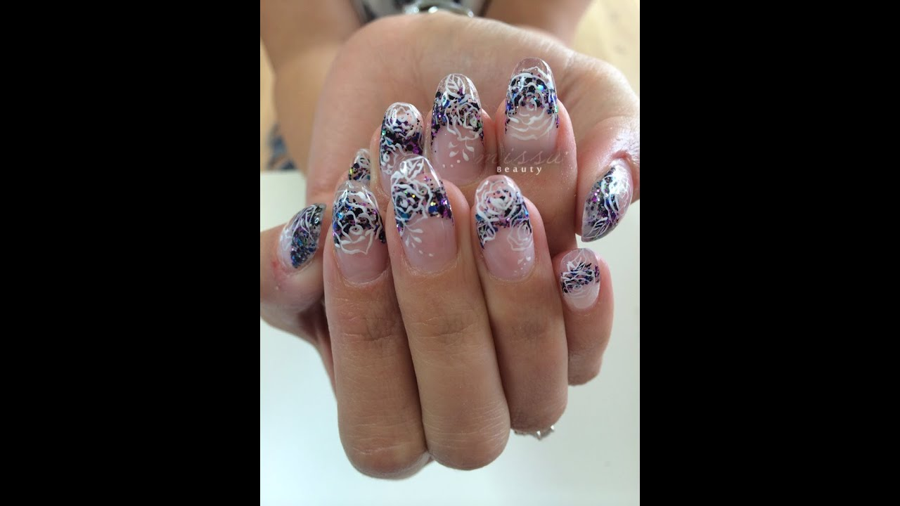 Gel Nail Art Tutoial--Glitter tips with hand-painted flowers - YouTube